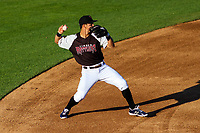 Milwaukee Brewers shortstop Tyler Saladino (17) throws to first base during a rehab outing with the Wisconsin Timber Rattlers in a Midwest League game against the Clinton LumberKings on June 29, 2018 at Fox Cities Stadium in Appleton, Wisconsin. Clinton defeated Wisconsin 9-7. (Brad Krause/Four Seam Images)