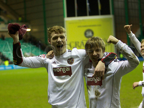 26.01.2013.  Edinburgh, Scotland. Hearts Capt Marius Zaliukas celebrates with Arvydas Novikovas  during the Scottish Communities Scottish League Cup-  Season 2012-13  Semi Final  Iverness Caledonian Thistle v Heart Of Midlothian , from Easter Road Stadium.  Hearts won the tie on penalty kicks 5-4 to go through to the final.