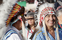 Nativi americani attendono l'inizio della cerimonia di canonizzazione di Kateri Tekakwitha, insieme ad altri sei nuovi santi, in Piazza San Pietro, Citta' del Vaticano, 21 ottobre 2012..Native American Indians gather St. Peter square prior to take part in a canonization ceremony at the Vatican, 21 October 2012. Kateri Tekakwitha, a 17th-century Mohawk Indian who spent most of her life in what is now upstate New York, was declared a saint along with six others in a ceremony attended by the Pope..UPDATE IMAGES PRESS/Riccardo De Luca
