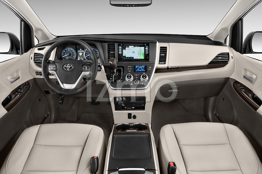 Stock photo of straight dashboard view of 2017 Toyota Sienna XLE 5 Door Minivan Dashboard