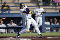 Michigan Wolverines outfielder Jordan Brewer (22) swings the bat against the San Jose State Spartans on March 27, 2019 in Game 1 of the NCAA baseball doubleheader at Ray Fisher Stadium in Ann Arbor, Michigan. Michigan defeated San Jose State 1-0. (Andrew Woolley/Four Seam Images)