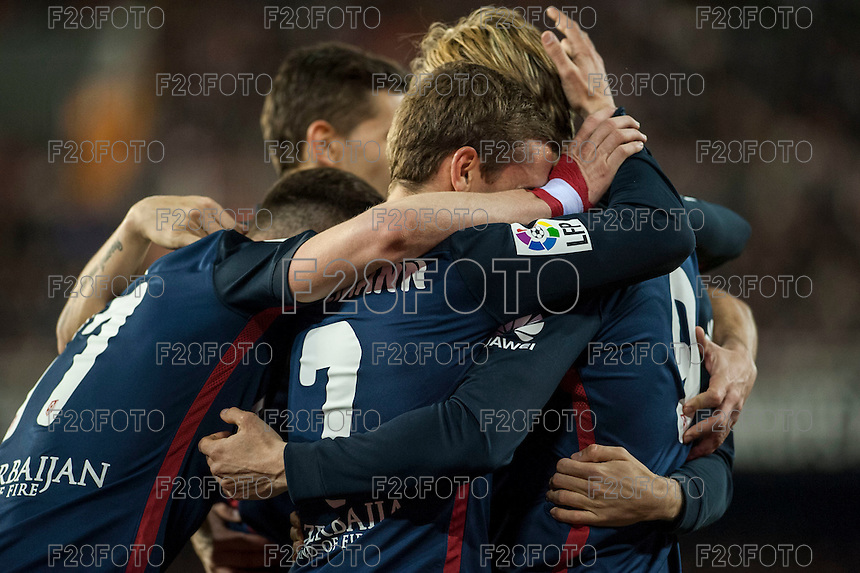 VALENCIA, SPAIN - MARCH 6: Atletico de Madrid celebrating the second goal during BBVA League match between Valencia C.F. and Athletico de Madrid at Mestalla Stadium on March 6, 2015 in Valencia, Spain