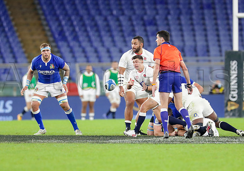 31st October 2020, Olimpico Stadium, Rome, Italy; Six Nations International Rugby Union, Italy versus England;  Ben Youngs (England) passes the ball out from the maul