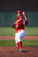 Auburn Doubledays relief pitcher Kevin Mooney (33) delivers a pitch during a game against the Mahoning Valley Scrappers on June 19, 2016 at Falcon Park in Auburn, New York.  Mahoning Valley defeated Auburn 14-3.  (Mike Janes/Four Seam Images)