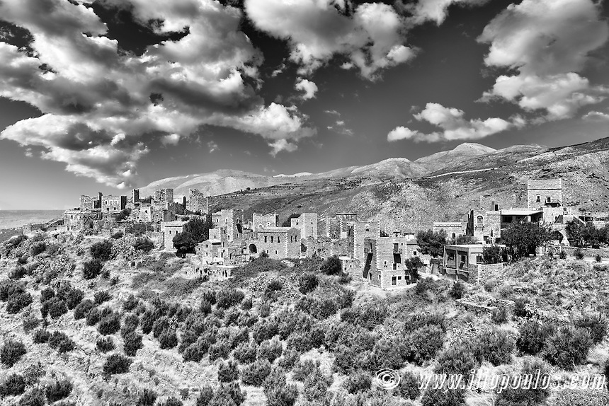 The towers of the village Vatheia in Mani, Greece