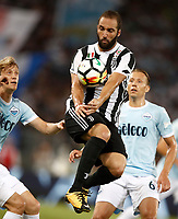 Calcio, Football - Juventus vs Lazio Italian Super Cup Final  <br /> Juventus' Gonzalo Higuain in action during the Italian Super Cup Final football match between Juventus and Lazio at Rome's Olympic stadium, on August 13, 2017.<br /> UPDATE IMAGES PRESS/Isabella Bonotto