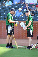 Chad Spanberger and Bret Boswell of the Asheville Tourists during the home run derby as part of the All Star Game festivities at First National Bank Field on June 19, 2018 in Greensboro, North Carolina.(Tony Farlow/Four Seam Images)