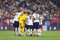 NASHVILLE, TN - SEPTEMBER 5: USMNT starting eleven huddle up during a game between Canada and USMNT at Nissan Stadium on September 5, 2021 in Nashville, Tennessee.