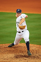 Pensacola Blue Wahoos pitcher Jacob Johnson (11) delivers a pitch during the second game of a double header against the Biloxi Shuckers on April 26, 2015 at Pensacola Bayfront Stadium in Pensacola, Florida.  Pensacola defeated Biloxi 2-1.  (Mike Janes/Four Seam Images)