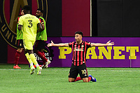 """ATLANTA, GA - AUGUST 22: Gonzalo """"Pity"""" Martinez #10 questions why there was no foul call during a game between Nashville SC and Atlanta United FC at Mercedes-Benz Stadium on August 22, 2020 in Atlanta, Georgia."""