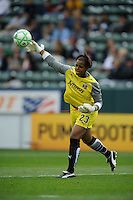 Los Angeles Sol goalie Karina LeBlanc (23) throws the ball during a game against the Washington Freedom in the second half at the Home Depot Center in Carson, CA on Sunday, March 29, 2009.