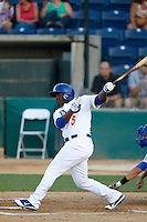 O'Koyea Dickson #5 of the Rancho Cucamonga Quakes bats against the Stockton Ports at LoanMart Field on June 13, 2013 in Rancho Cucamonga, California. Stockton defeated Rancho Cucamonga, 8-4. (Larry Goren/Four Seam Images)