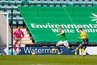 1st May 2021; Easter Road, Edinburgh, Scotland; Scottish Premiership Football, Hibernian versus St Johnstone;  Glenn Middleton of St Johnstone scores the opening goal to make it 0-1 for St Johnstone in minute 22