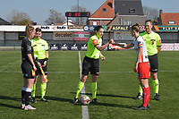 referee Caroline Lanssens with Pauline Windels (5) of Zulte-Waregem and Chloe Van Mingeroet (17) of Eendracht Aalst  pictured during a female soccer game between SV Zulte - Waregem and Eendracht Aalst on the 17 th matchday of the 2020 - 2021 season of Belgian Scooore Womens Super League , saturday 20 th of March 2021  in Zulte , Belgium . PHOTO SPORTPIX.BE | SPP | DIRK VUYLSTEKE