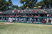 STANFORD, CA - MAY 29: Dugout and fans before a game between Oregon State University and Stanford Baseball at Sunken Diamond on May 29, 2021 in Stanford, California.
