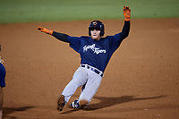 Lakeland Flying Tigers catcher Andres Sthormes (37) slides into third base during the second game of a doubleheader against the Tampa Tarpons on May 31, 2018 at George M. Steinbrenner Field in Tampa, Florida.  Lakeland defeated Tampa 3-2.  (Mike Janes/Four Seam Images)