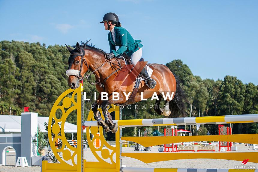 NZL-Maya Hegh rides Triple Star One Of A Kind. Class 12: KAWASAKI Pony Speed Class 1.15m. 2021 NZL-Takapoto Estate Showjumping 2021 - Week Two. Saturday 27 February. Copyright Photo: Libby Law Photography