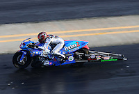 Sept. 14, 2012; Concord, NC, USA: NHRA pro stock motorcycle rider Shawn Gann during qualifying for the O'Reilly Auto Parts Nationals at zMax Dragway. Mandatory Credit: Mark J. Rebilas-