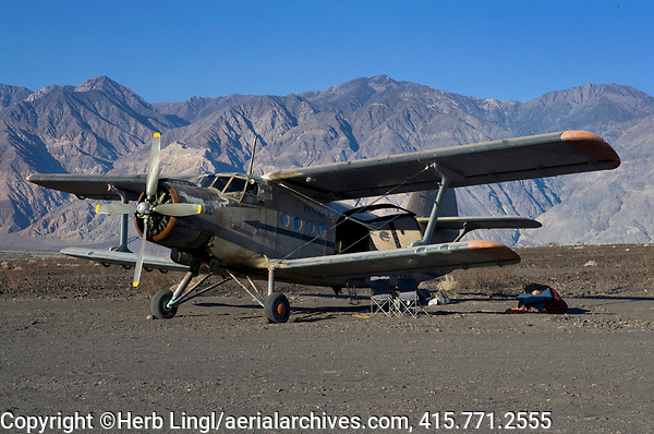 Antonov AN-2 biplane N87AN, parked at the Saline Valley Warm Springs Airfield, also known as Chicken Strip, Death Valley National Park, Califorina
