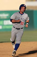 Beau Taylor #13 of the Stockton Ports runs the bases against the Lancaster JetHawks at Clear Channel Stadium on July 8, 2012 in Lancaster, California. Lancaster defeated Stockton 10-8. (Larry Goren/Four Seam Images)