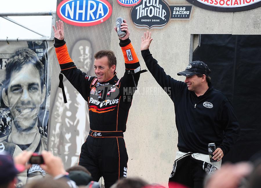 Jul. 31, 2011; Sonoma, CA, USA; NHRA top fuel dragster drivers Clay Millican (left) and Del Worsham during the Fram Autolite Nationals at Infineon Raceway. Mandatory Credit: Mark J. Rebilas-