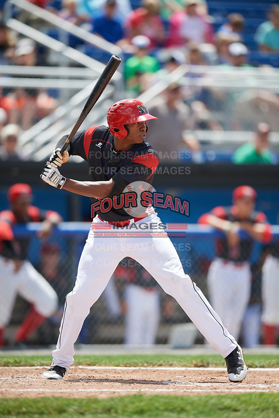 Batavia Muckdogs center fielder Thomas Jones (49) at bat during a game against the West Virginia Black Bears on June 25, 2017 at Dwyer Stadium in Batavia, New York.  West Virginia defeated Batavia 6-4 in the completion of the game started on June 24th.  (Mike Janes/Four Seam Images)