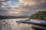 Portree, Isle of Skye, Scotland:<br /> Portree water front and harbor at dusk