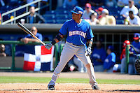 Dominican Republic second baseman Robinson Cano #24 during a Spring Training game against the Philadelphia Phillies at Bright House Field on March 5, 2013 in Clearwater, Florida.  The Dominican defeated Philadelphia 15-2.  (Mike Janes/Four Seam Images)