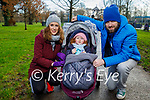 The Slattery family enjoying a stroll in the Tralee town park on Saturday, l to r: Eve, baby Iarlaith and Padraig Slattery.