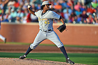 Montgomery Biscuits pitcher Victor Mateo #45 delivers a pitch during the Southern League All Star game at AT&T Field on June 17, 2014 in Chattanooga, Tennessee. The Southern Division defeated the Northern Division 6-4. (Tony Farlow/Four Seam Images)