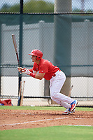 GCL Phillies West Andrick Nava (10) bats during a Gulf Coast League game against the GCL Yankees East on August 3, 2019 at the Carpenter Complex in Clearwater, Florida.  The GCL Phillies West defeated the GCL Yankees East 15-7 in a completion of a game that was originally started on July 26, 2019.  (Mike Janes/Four Seam Images)