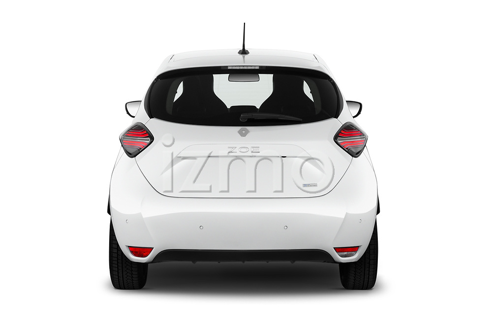Straight rear view of 2020 Renault ZOE Edition-One 5 Door Hatchback Rear View  stock images