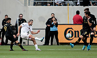 LOS ANGELES, CA - MARCH 01: Rodolfo Pizarro #10 of Inter Miami CF takes a shot during a game between Inter Miami CF and Los Angeles FC at Banc of California Stadium on March 01, 2020 in Los Angeles, California.