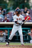 Chris Lofton #1 of the San Jose Giants bats against the Inland Empire 66'ers at San Manuel Stadium on May 21, 2013 in San Bernardino, California. San Jose defeated Inland Empire, 8-0. (Larry Goren/Four Seam Images)