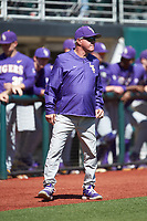 LSU Tigers head coach Paul Mainieri during the game against the Georgia Bulldogs at Foley Field on March 23, 2019 in Athens, Georgia. The Bulldogs defeated the Tigers 2-0. (Brian Westerholt/Four Seam Images)