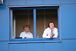 St Johnstone v FC Minsk...01.08.13 Europa League Qualifier at Neman Stadium, Grodno, Belarus...<br /> BBC Scotland's Jim Spence and Roddy Grant in the commentary box;<br /> Picture by Graeme Hart.<br /> Copyright Perthshire Picture Agency<br /> Tel: 01738 623350  Mobile: 07990 594431