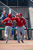 Springfield Cardinals infielder Elehuris Montero (43) is congratulated by catcher Brian O'Keefe (23) after hitting a home run on May 19, 2019, at Arvest Ballpark in Springdale, Arkansas. (Jason Ivester/Four Seam Images)
