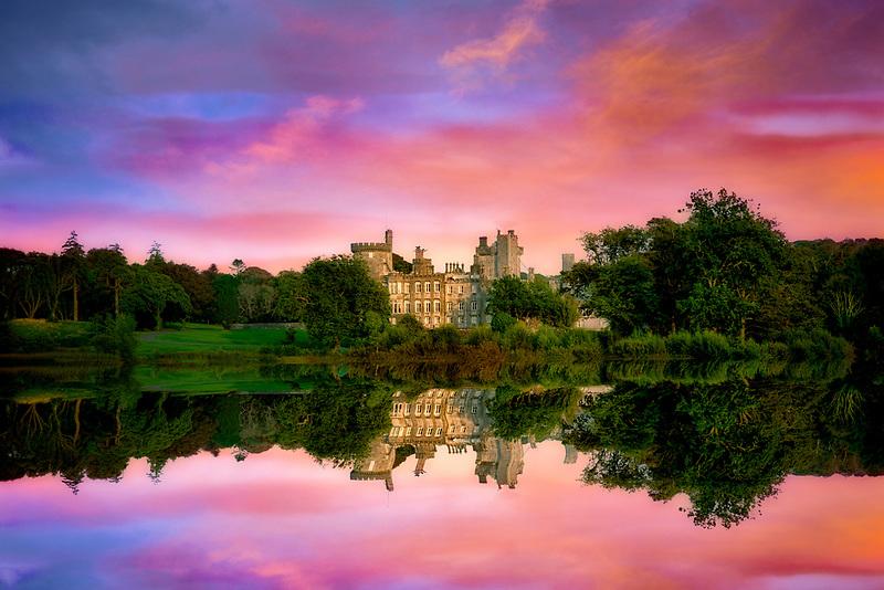 Pond and Dromoland Castle at sunrise.. Ireland