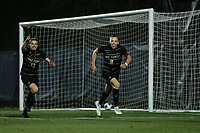 WINSTON-SALEM, NC - DECEMBER 07: Alistair Johnston #8 of Wake Forest University celebrates scoring a goal with David Wrona #13 during a game between UC Santa Barbara and Wake Forest at W. Dennie Spry Stadium on December 07, 2019 in Winston-Salem, North Carolina.