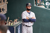 Manager Blake Butera (3) of the Charleston RiverDogs in a game against the Columbia Fireflies on Tuesday, May 11, 2021, at Segra Park in Columbia, South Carolina. (Tom Priddy/Four Seam Images)