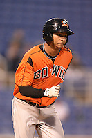 Bowie Baysox outfielder Garabez Rosa (2) runs to first during a game against the Binghamton Mets on August 3, 2014 at NYSEG Stadium in Binghamton, New York.  Bowie defeated Binghamton 8-2.  (Mike Janes/Four Seam Images)