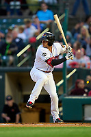 Rochester Red Wings Derek Dietrich (56) bats during a game against the Worcester Red Sox on September 3, 2021 at Frontier Field in Rochester, New York.  (Mike Janes/Four Seam Images)