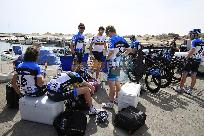 Garmin-Cervelo team riders get ready before the start of Stage 4 of the 2012 Tour of Qatar from Al Thakhira to Madinat Al Shamal, Qatar. 8th February 2012.<br /> (Photo Eoin Clarke/Newsfile)
