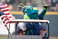 """Columbia Fireflies mascot """"Mason"""" waves to fans between innings of the game against the Rome Braves on Monday, July 3, 2017, at Spirit Communications Park in Columbia, South Carolina. Columbia won, 1-0. (Tom Priddy/Four Seam Images)"""