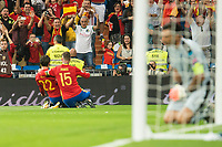 Spain's Fernando Alarcon 'Isco' and Sergio Ramos celebrating a goal during match between Spain and Italy to clasification to World Cup 2018 at Santiago Bernabeu Stadium in Madrid, Spain September 02, 2017. (ALTERPHOTOS/Borja B.Hojas)
