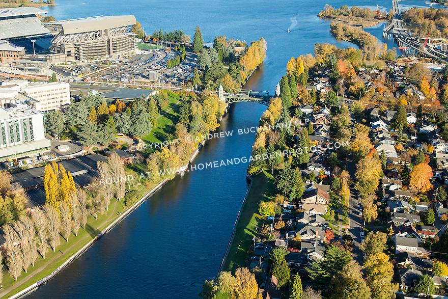 Aerial photo of Montlake Cut and Husky Stadium at the University of Washington