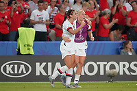 PARIS, FRANCE - JUNE 28: Alex Morgan #13, Allie Long #20 during a 2019 FIFA Women's World Cup France quarter-final match between France and the United States at Parc des Princes on June 28, 2019 in Paris, France.