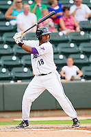 Juan Silverio #18 of the Winston-Salem Dash at bat against the Myrtle Beach Pelicans at BB&T Ballpark on July 5, 2012 in Winston-Salem, North Carolina.  The Dash defeated the Pelicans 12-5.  (Brian Westerholt/Four Seam Images)