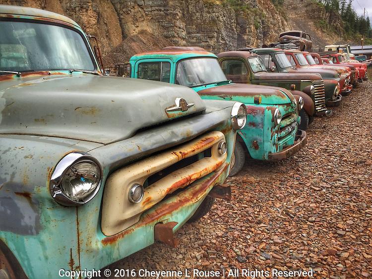 Line em up! Gravel pit rusty trucks