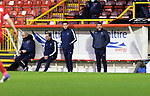 Aberdeen v St Johnstone…26.12.20   Pittodrie      SPFL<br />Saints boss Callum Davidson in the dugout with coaches Steven MacLean, Alec Cleland and Paul Mathers<br />Picture by Graeme Hart.<br />Copyright Perthshire Picture Agency<br />Tel: 01738 623350  Mobile: 07990 594431